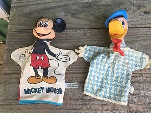Vintage 1950's WDP Mickey Mouse & Donald Duck Hand Puppets - Cloth & Vinyl