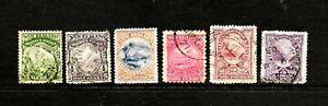 6 x New Zealand 1898 & 1900 Pictorials, Set of 6 Stamps, FU
