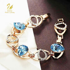 Thick 18K Gold GF Made With Swarovski Crystal Teardrop Oval Aquamarine Bracelet