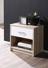 Nachttisch Pepe, Sonoma-Weiß, Nachtkonsole, Schlafzimmer, Breite: 39 cm
