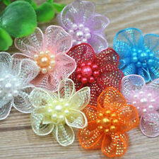 Organza Ribbon Flowers Bows w/Beads Appliques Wedding Craft Upick