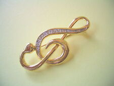 And Rhinestones Unsigned But Beautiful Treble Clef Brooch Gold Tone