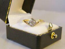 LOVELY 18ct 18K Yellow Gold & Platinum Art Deco Diamond Lozenge Ring SIZE O