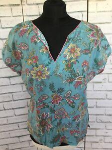 EAST blue pink floral print cotton v-neck top UK 10