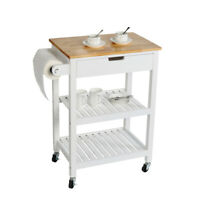 White Kitchen Cart Island Rolling Dining Wooden Trolley Storage Cabinet Home