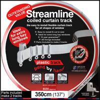 3.5 meter (350cm) Streamline Bendable PVC plastic curtain track - Complete set
