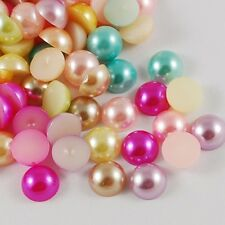 100pcs Mixed Color Acrylic Cabochons Pearlized Beads Half Round Flat Back 14x7mm