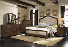 CORINNE 5pc Cottage Brown Oak Bedroom Set W/ King Fabric Panel Headboard  Bed NEW