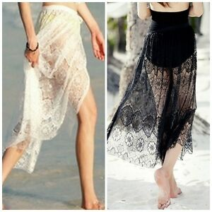 Lace style wrap around Skirt. Black or White Size 8-14