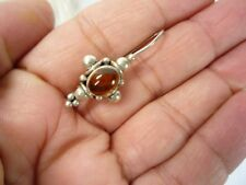 Estate Handcrafted One Earring Silver Amber Stone  USA Seller