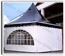 Festzelt Partyzelt 6eck Pagode 23,4m² Profizelt / schwarz-weiß / Traufe 2,50m