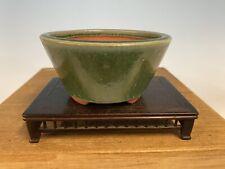 Green Round Glazed Shohin Size Tokoname Bonsai Tree Pot By Yozan 4 3/4�