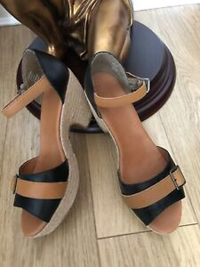 Next Espadrille Wedge Low Heel Leather Sandals Brown/black Size 7 Good Cond