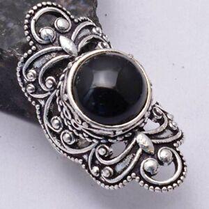 Black Onyx Ethnic Handmade Ring Jewelry US Size-7 AR 41613
