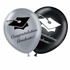 "Graduation 12"" Set Black Silver Original Latex Balloons Congratulation Graduate 10"