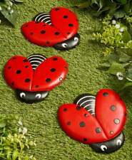 Set of 3 Cold Cast Ceramic Whimsical Ladybug Garden Stepping Stones