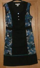 ANNE WEYBURN - LA REDOUTE LADIES SHIFT  DRESS - BLACK /BLUE SIZE 10