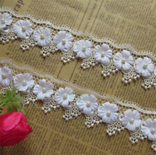 10pcs Pearl Flower Lace Edge Trim Wedding Dress Ribbon Applique DIY Sewing Craft