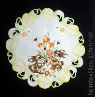 STICKEREI Tischdecke OSTERN Tischdeckchen OSTERHASE Osterdeckchen Deckchen 30cm