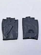 MEN'S REAL LEATHER FASHION DRIVING/MOTORCYCLE/BIKER HALF-FINGER GLOVES BLACK