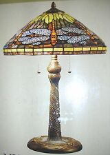 """23"""" Dragonfly Tiffany Style handcrafted & hand cut glass Table Lamp Bronze NIB"""