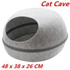 Pet Cat Cave Bed Igloo Soft House Sleeping Bag Mat Grey Kitten Cave Dog 48cm WMC