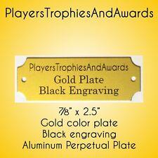 "7/8"" x 2 1/2"" Perpetual Name Plate Gold - Black engraving 2.5 x 7/8 Aluminum"
