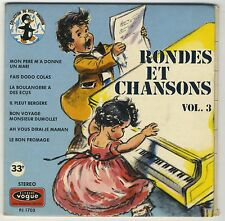 Livre-disque livret illustré 8 p. Germaine Bouret Rondes et chansons vol 3 VG+