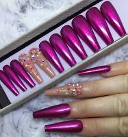 Pink Glitter Gem False Fake Extra Long Ballerina Nails Set