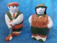 New Vintage Clay Art Man & Woman Golfer Salt & Pepper Set