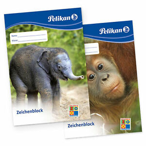 SET 2x Pelikan Zeichenblock Malblock DIN A3 20 Blatt Papier Schule Unterricht