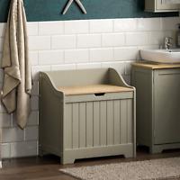 Priano Bathroom Laundry Chest Basket Hamper Washing Clothes Storage Bin Grey