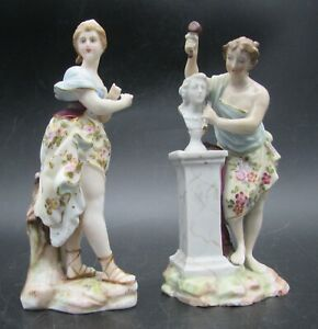 TWO Antique VOLKSTEDT Porcelain MUSES of THE ARTS Figures Sculpture and Dancer