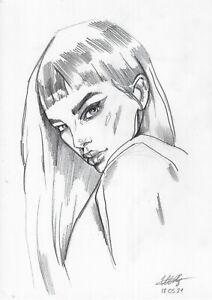 original drawing A4 24ShX art modern Graphite modern female portrait 2021