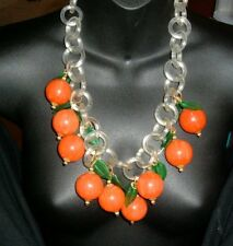 FRUIT FAT RIPE ORANGES DANGLING BIB NECKLACE VINTAGE massive resin