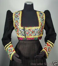 RARE antique German folk costume jacket black wool sequins beads ethnic design