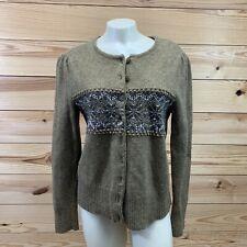 Elena Solano Cardigan Sweater Medium Button Up Lambs Wool Green Purple LS B74