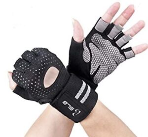 SLB. Gym Gloves, Training Gloves. Full Wrist Support. Palm Protection. Size L