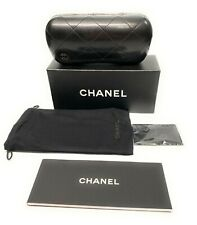 New Chanel Authentic Sunglasses Case Black Quilted Leather Hard Clam Shell