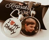 Personalised Photo Keyring - I Love My Daddy - Christmas Birthday Gift Box