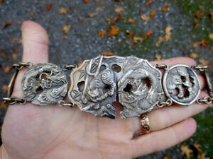 ANTIQUE CHINESE EXPORT DRAGON & TIGER LARGE LINK SILVER TONE BELT STAMPED 84