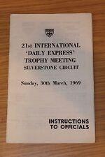 Brdc istruzioni ai funzionari 1969 DAILY EXPRESS Trophy riunione