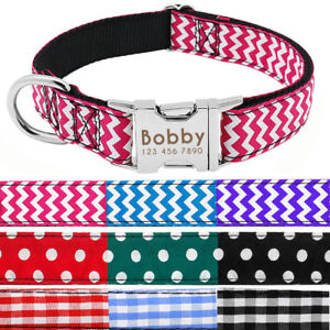 Custom Personalized Nylon Cotton Dog Collar Small Large Pet ID Name Metal Buckle