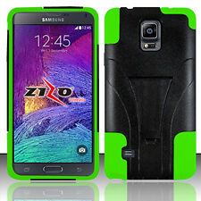 For Samsung Galaxy Note 4 Advanced KICK STAND Rubber Case Cover + Screen Guard