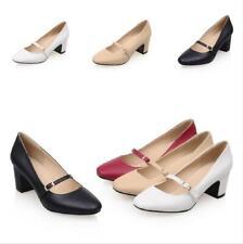 Size 34-43 Women Buckle Strap Slip On 5.5cm Block Mid Heel Shoes Pumps 4 Colors