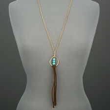 Tassels Bohemian Style Pendant Necklace Long Gold Chain Turquoise Bead Soft