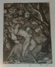 Man, Panther, Bird & Fruited Tree-Etching/Litho-1970s-Eunice Smith