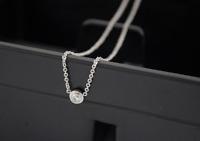 "Tiny ""Dot"" Silver SP Pave Cubic Zirconia Pendant Necklace"
