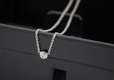 "Tiny ""Dot"" 925 Sterling Silver Micro-inlay Cubic Zirconia Pendant Necklace"