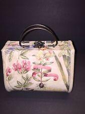 Vintage Women's Wooden Box Purse Flower Painted Metal Handles Clutch Bag Handbag